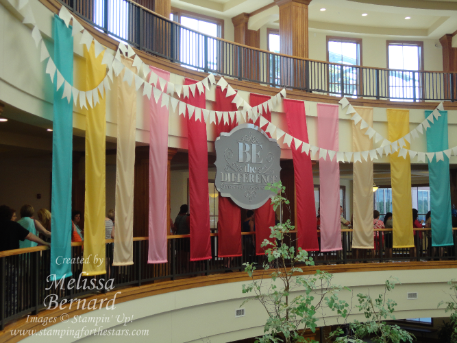 the banners hanging in the atrium at Home Office in Riverton, Utah